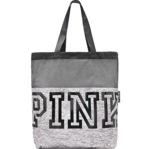 NWT PINK Victoria's Secret Logo Marl Mesh Tote Bag